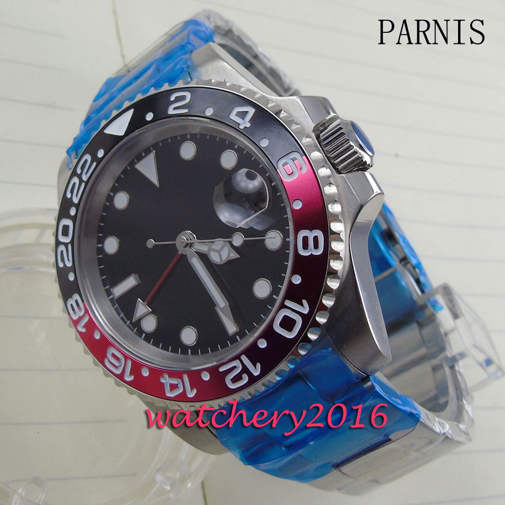 new 40mm Parnis black dial black & red bezel white number Automatic movement Men's business Watch