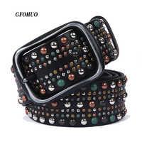 Genuine Leather Belts Hip-hop Style Belt For men Women Punk Style Rivet Belt Cool Jeans Belts Unisex Quality Guarantee