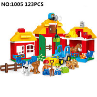 Big size 123pcs Legoing Duploe Happy Zoo compatible with Animals Building Bricks Set Creative Big Blocks Toys for children gifts