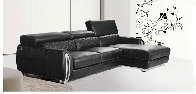 2015 Modern Furniture Genuine Leather Sectional Sofa Set With Adjustable  Headrest With Stainless Steel Armrest