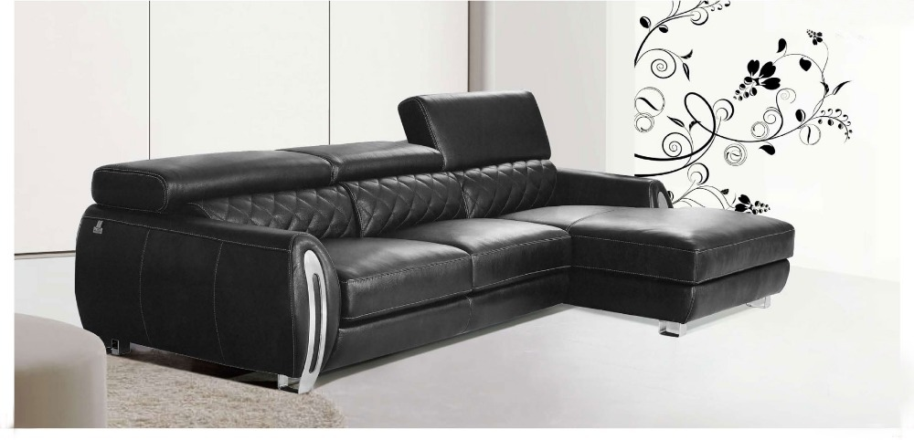 2015 Modern Furniture Genuine Leather Sectional Sofa Set With Adjustable  Headrest With Stainless Steel Armrest(