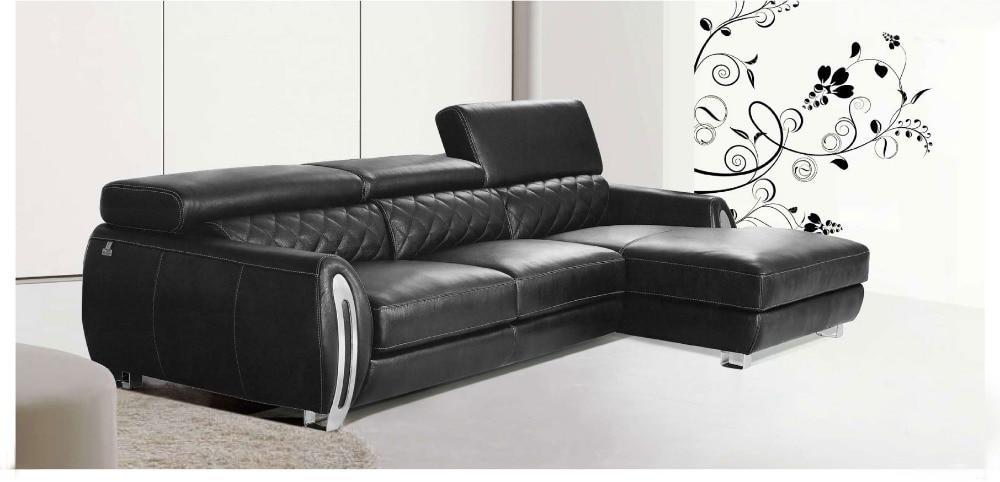 2015 Moderne Meubels Echt Lederen Sofa Set Met Verstelbare Hoofdsteun Met Rvs Armsteun
