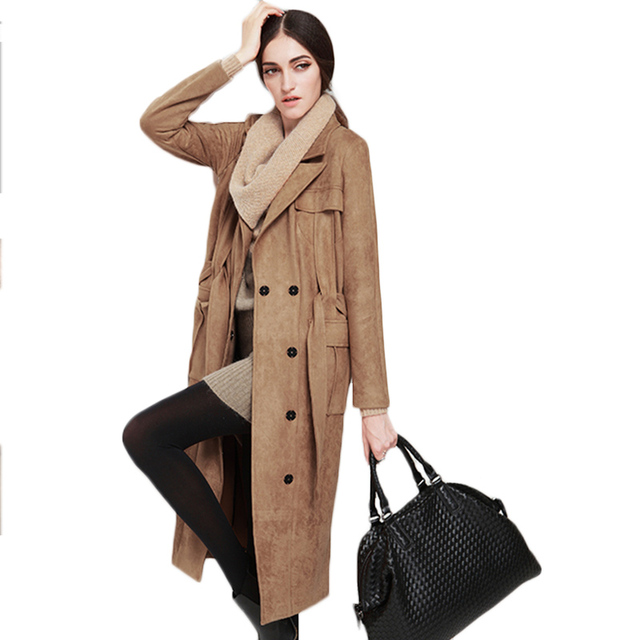 2017 Spring New Arrival Women's Suede Coat Lapel Women X-Long Wool Coat Ladies Winter Jacket Sashes Female Cashmere Parka F1894