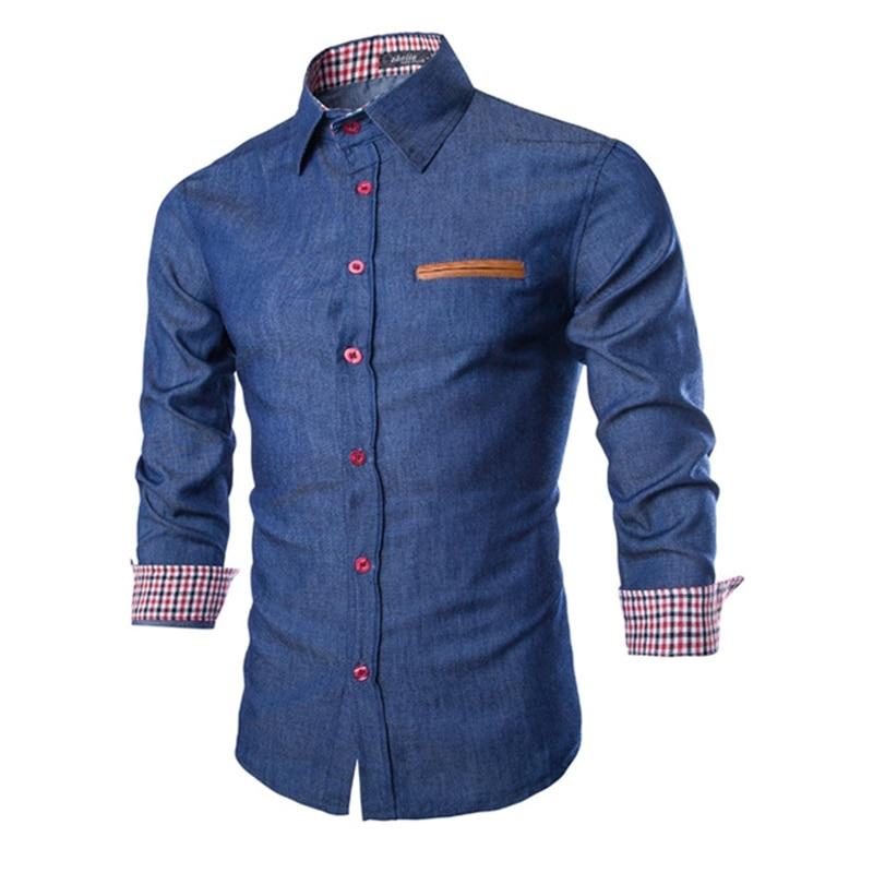 2018 New Mens Denim Shirts Long Sleeve Men Dress Shirt Fashion Brand Slim Fit Style Navy Blue Jeans Male Shirt European Size 50 ...