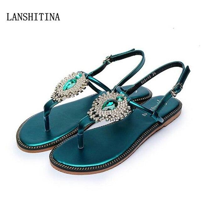 de4bbcebec9 2017 Woman Sandals Women Shoes Rhinestones Chains Thong Gladiator Flat  Sandals Chaussure Femme ete Plus tenis feminino