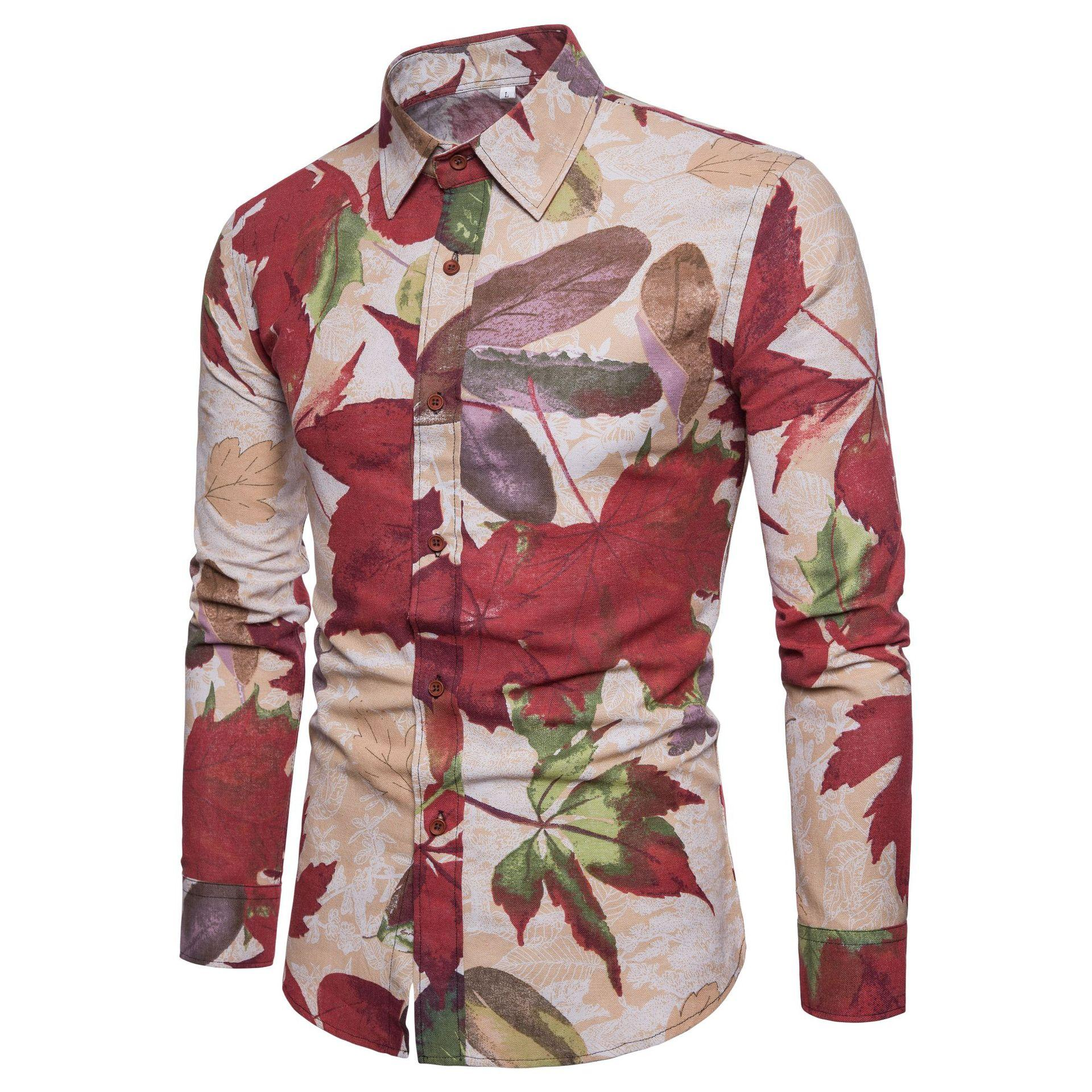 Hawaiian Shirt Men 39 s clothing Slim fit Social Shirt for Men Long Sleeve Plus size Flower Casual Blouse Men Floral in Casual Shirts from Men 39 s Clothing