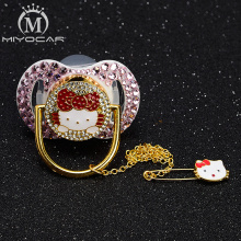 MIYOCAR  all bling lovely cat pacifier and clips BPA free FDA pass safe dummy idea gift for baby unique design