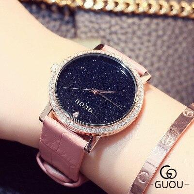 2017 New GUOU Brand Fashion Rhinestone Ladies Quartz Watch Women crystal big dial Leather Dress Watches bayan saatleri Clock