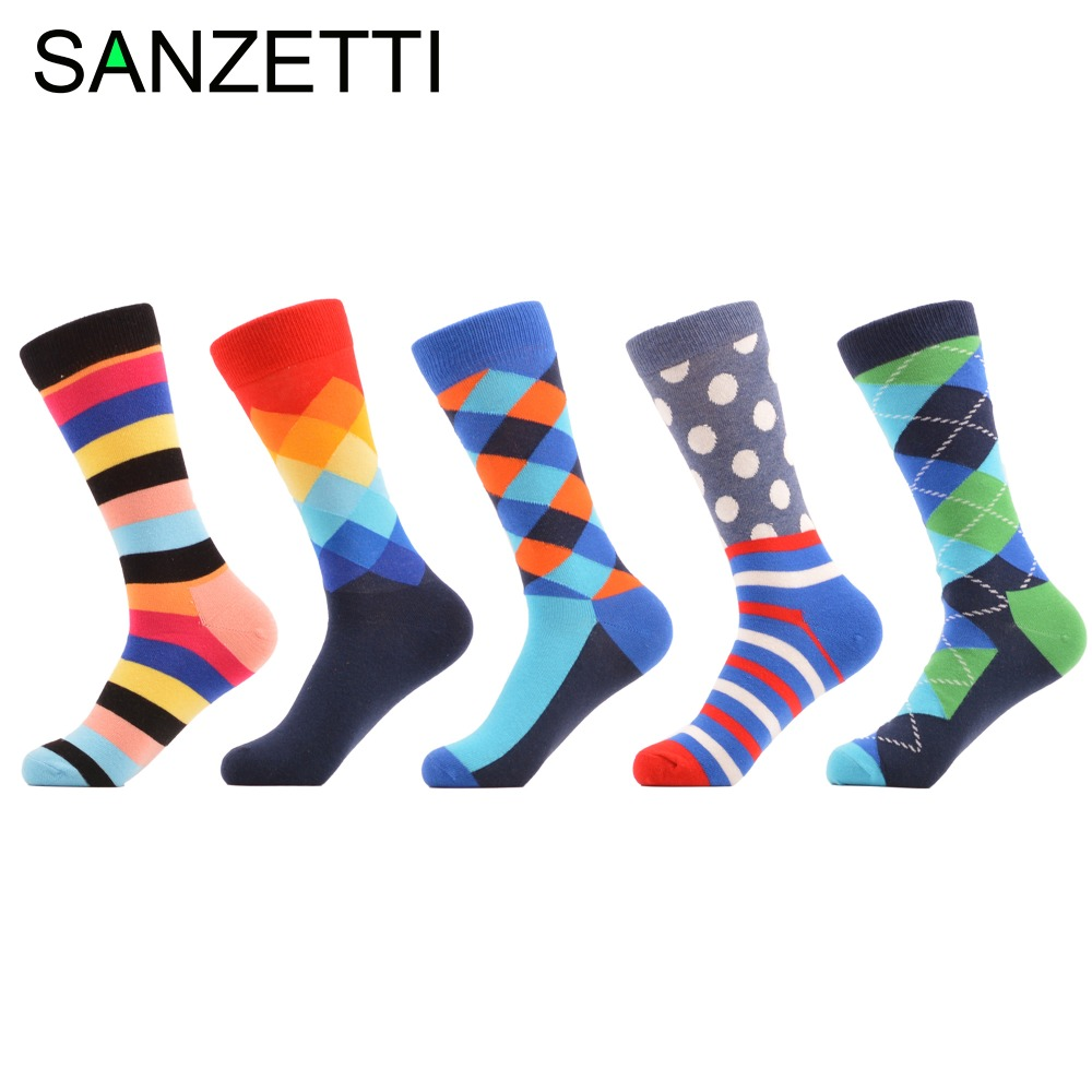 Sanzetti 5 Pairs/lot Colorful Combed Cotton Funny Mens Crew Socks Dress Business Sock Best Gift For Wedding Novelty Street Wear Underwear & Sleepwears