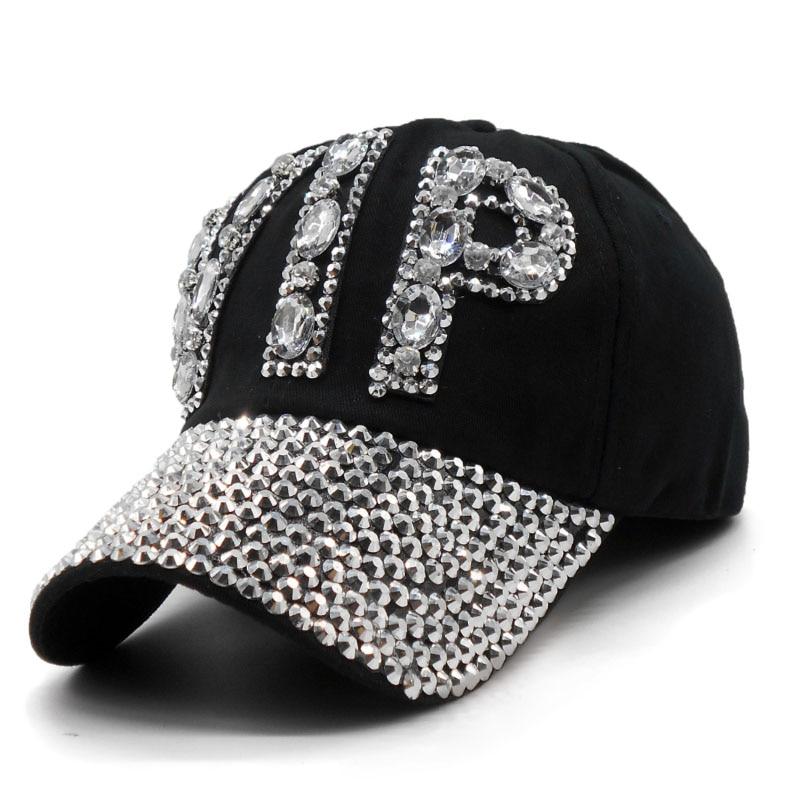 Ladies VIP Baseball Cap 2018 Women Studded Crystals Rhinestones Sequins  Snapback Hats Swag Vintage Denim Casual Sun Gorras-in Baseball Caps from  Apparel ... 8de9c6d600b2