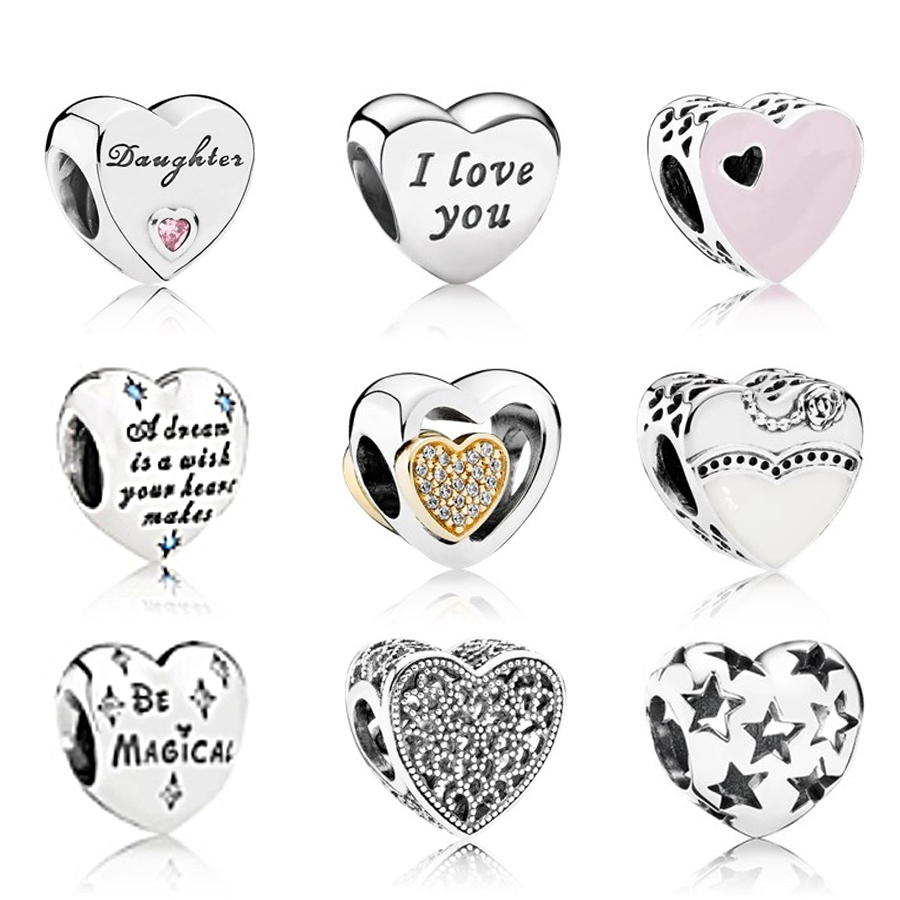 KAKANY 100% 925 sterling silver with Romance Words of Love Engraved Heart Charm Fit DIY pandor original Bracelet Jewelry Gift