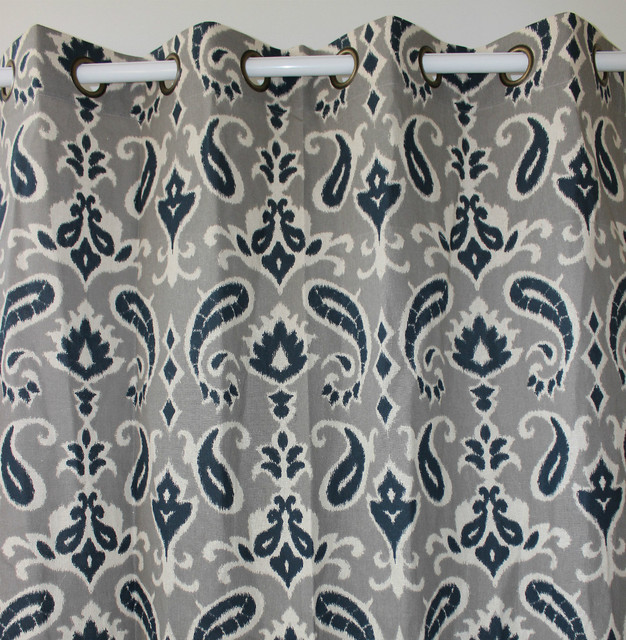 New Arrival Only 1 Piece Navy Paisley Flower Linen Curtains Window Door Bedroom Living Room
