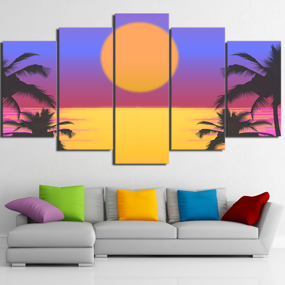 Modular Art HD Print 5 Piece Canvas Art Palms Vector Cuadros Wall ...