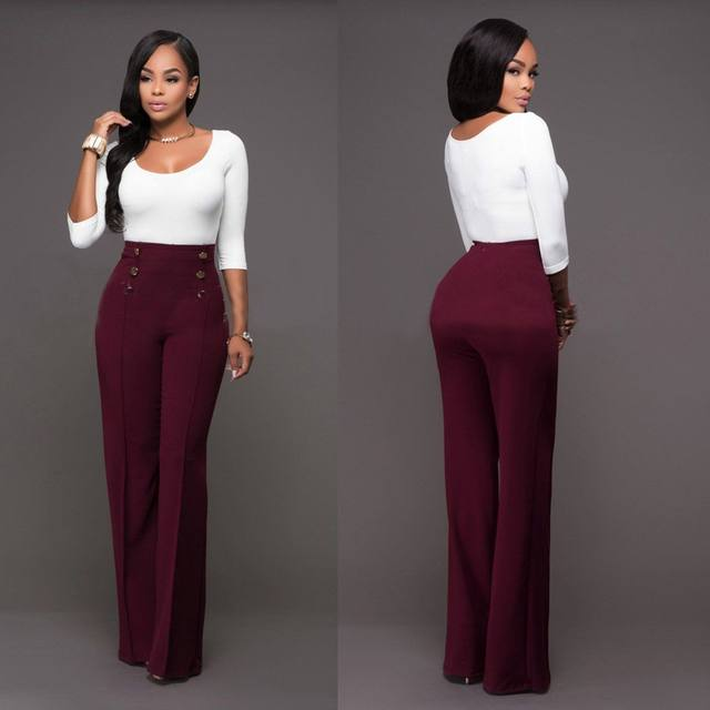 5a367d2a7e Hot High Waist Flare Pants Plus Size Women Trousers Female Office Lady  Casual Wide Leg Pants Stretch Long Pant 2018