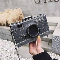 Personalidade bolsa feminina sacos do mensageiro lantejoulas câmera casual couro do plutônio embreagem corrente bolsa crossbody sacos de ombro bolsas