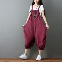 Women Jumpsuit 2017 Korean Style Cotton Pocket Knitted Cowboy Overalls Trousers Streetwear Bib Hip Hop Cargo