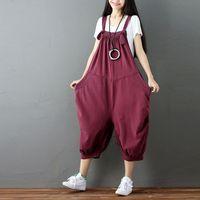 Mulheres Jumpsuit 2017 Algodão estilo Coreano Bolso de Malha Macacão cowboy Calças Jardineiras streetwear hip hop calças cargo G071201