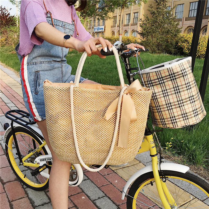 Big Size Straw Crochet Woven Shoulder Bag Holiday Summer Style Beach Ladies Top-handle Bag Knitting Rope Female Tote Handbag Sac wegogo women handbag new thailand straw bag ladies travel holiday summer beach bohemian boho weaving woven straw tote bag