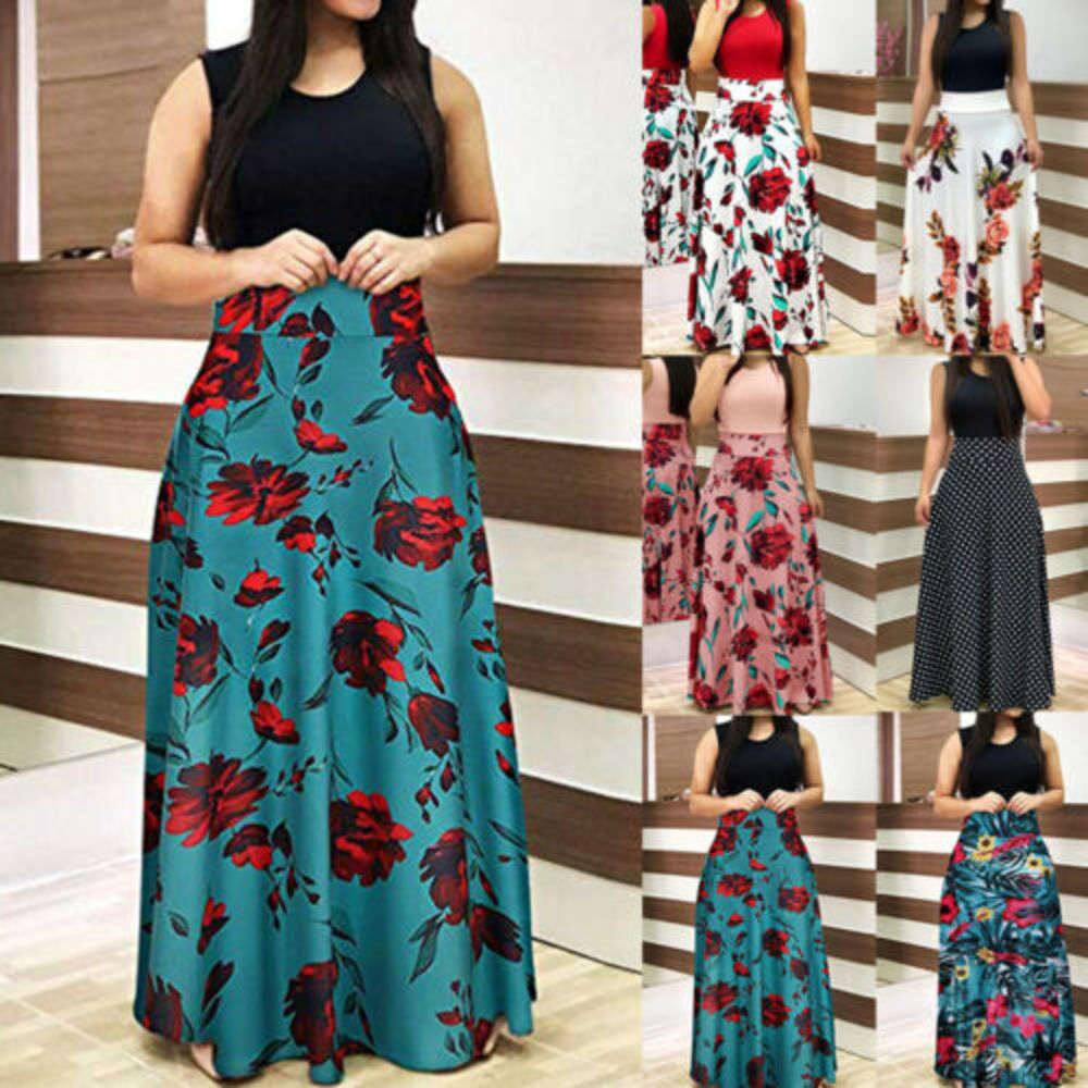 Women Floral Maxi Dress Prom Evening Party Summer Beach Casual Long Sundress Dress Party Summer Beach Sundress