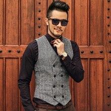 Mens Double Breasted Vest Men Dress Suit Vest Men Formal Grey Vest Suit Gilet Vest Slim Business Jacket Tops homme 2016 spring