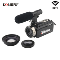 KOMERY Video Camera 1080P Full HD Portable Digital Video Camera 16X Digital Zoom 3.0 Inch Touch LCD Screen Camcorder With Wifi