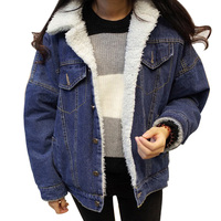 2018 Jean Jacket Women Warm Fur Long Sleeve Lambswool Denim Jacketw New Autumn Winter Fleece Pockets Coat Outerwear Overcoats