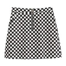 2017 Summer Korean Style Black White Plaid High Waist Slim A-line Female Skirts