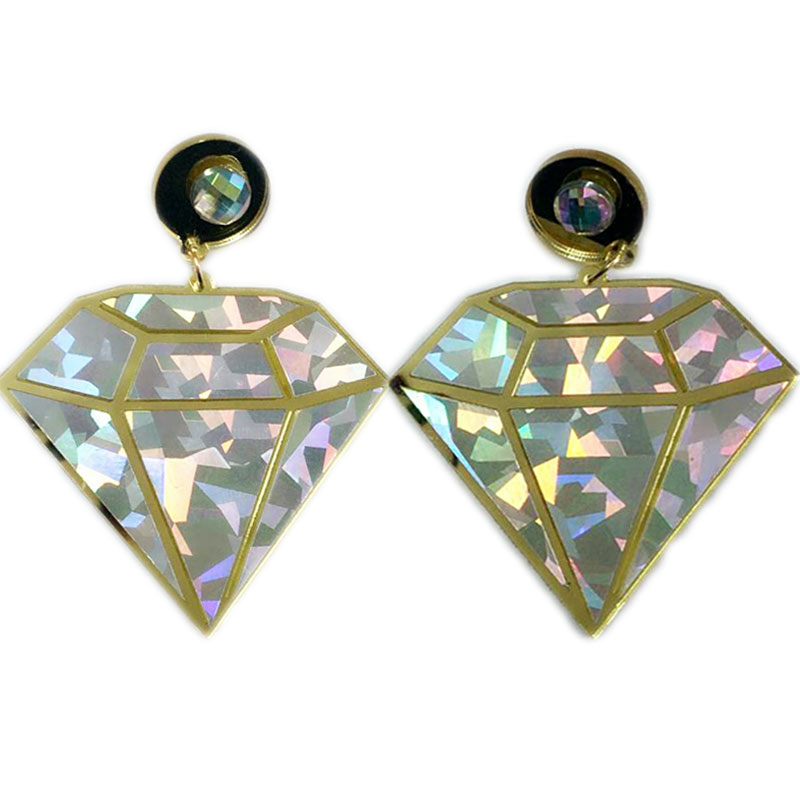 Big Fluorescence Rhinestone Geometric Pendent Drop Earrings Punk Style Laser Cut Acrylic