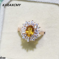 KJJEAXCMY Fine jewelry Popular T diamond ring 925 silver inlaid natural citrine female ring wholesale