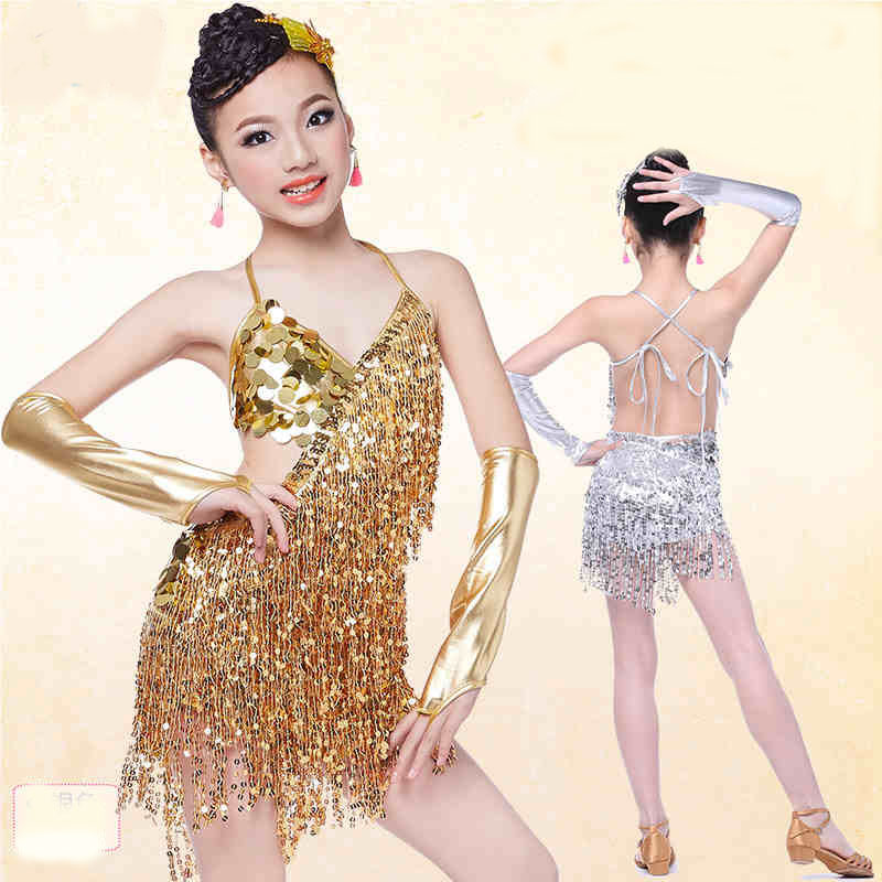91004c7e3b760 US $18.89 30% OFF|sequin fringe dress dance gold latin competition costumes  for girls salsa dresses with tassels samba clothing children ballroom-in ...