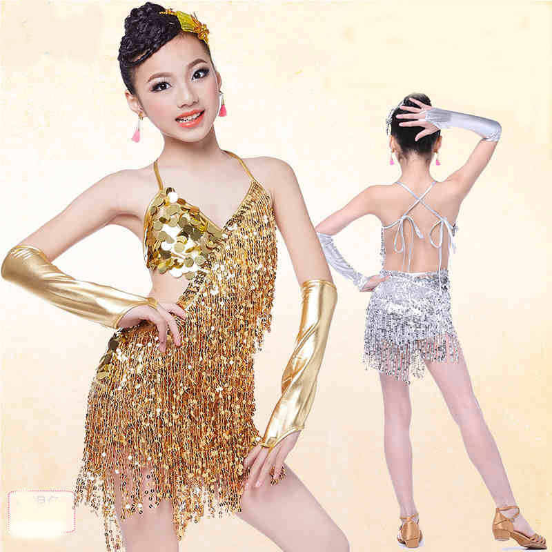 627691dbf9ee sequin fringe dress dance gold latin competition costumes for girls salsa  dresses with tassels samba clothing