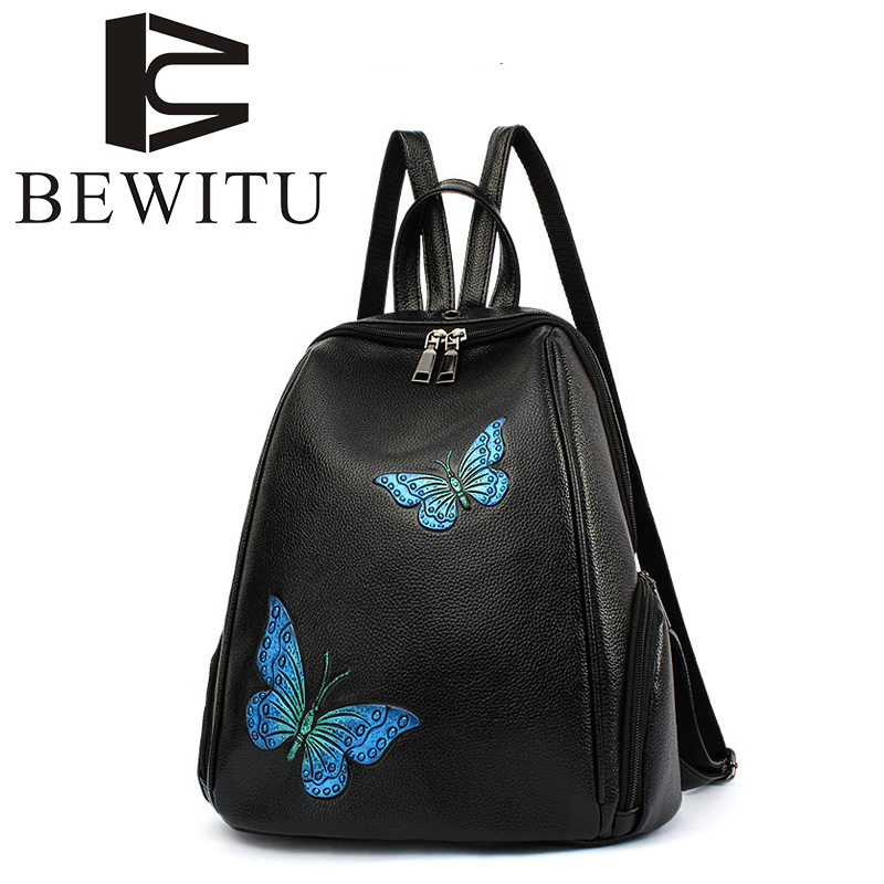 Korean version of the school style mini shoulder bag PU leather Backpack cute hit color butterfly