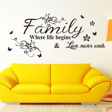 Family Where Life Begins Love Never Ends With Flowers And Butterfly Vinyl Removable Wall Quote Sticker Decal Home Decor 3230