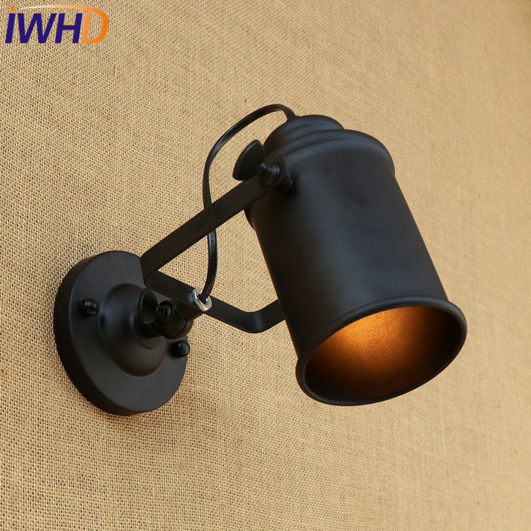 IWHD Loft Style Rotating Iron LED Wall Sconces Bedside Lamp Industrial Vintage Wall Light Fixtures Indoor Lighting Arandela iwhd loft style creative retro wheels droplight edison industrial vintage pendant light fixtures iron led hanging lamp lighting