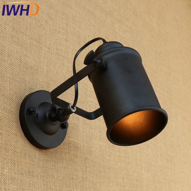Iwhd Loft Style Rotating Iron Led Wall Sconces Bedside Lamp Industrial Vintage Light Fixtures Indoor
