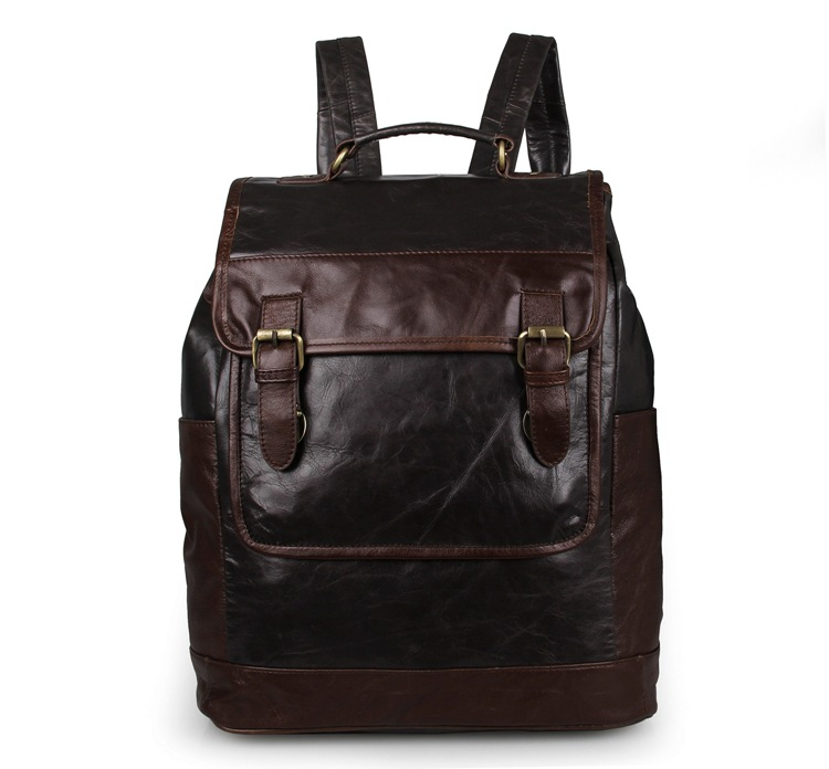 Vintage Style Men Genuine Leather Backpacks Cowhide Travel Bags Fashion Men School Backpacks Bags Casual Backpack for Mens J7305 hot sale women s backpack the oil wax of cowhide leather backpack women casual gentlewoman small bags genuine leather school bag