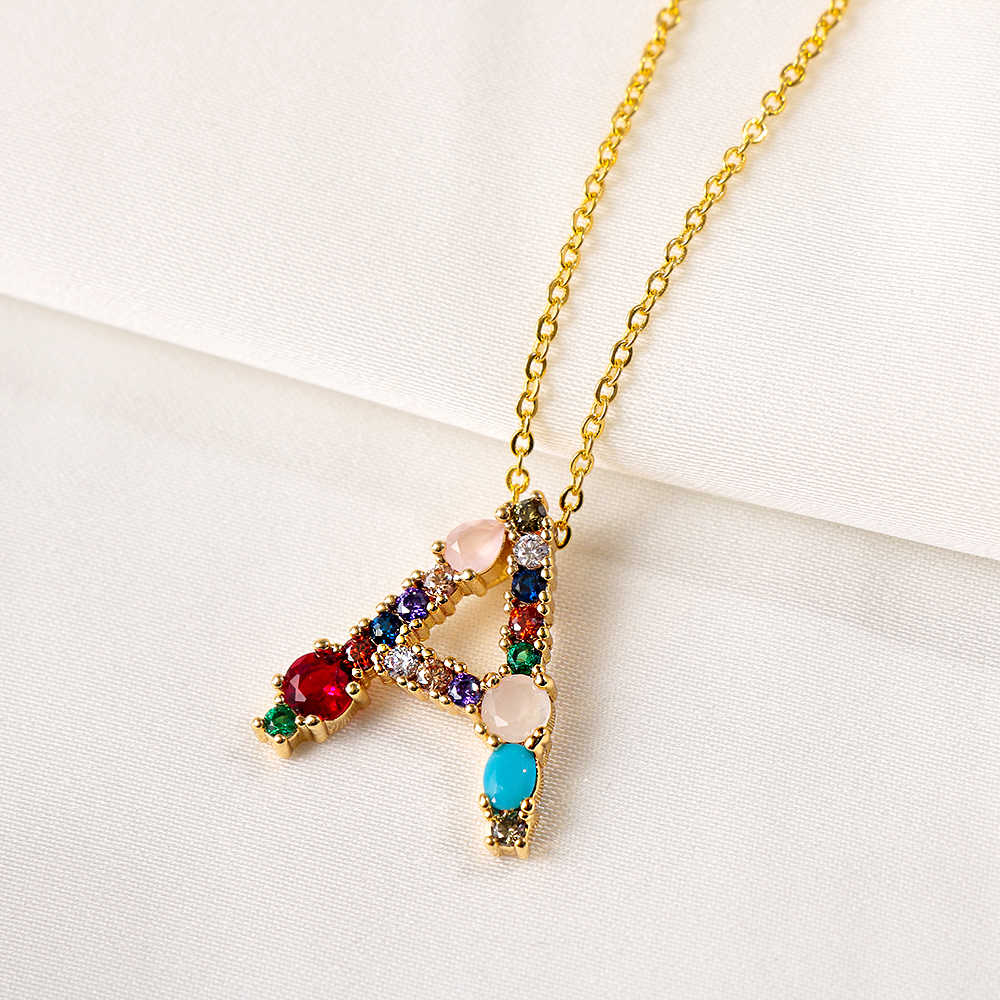 Multicolor CZ Necklace Personalized 26 Letters Necklace Crystal Name Jewelry Women Fashion Accessories Girlfriend Gift