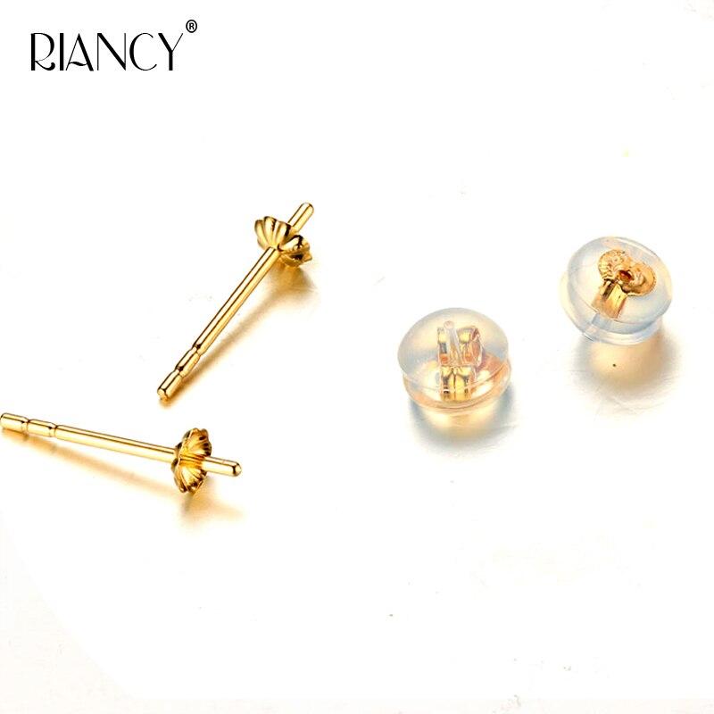 DIY Pearl jewelry accessories G18k Yellow Gold Ear Pins AU750 Golden needle With Ear Plugs недорго, оригинальная цена