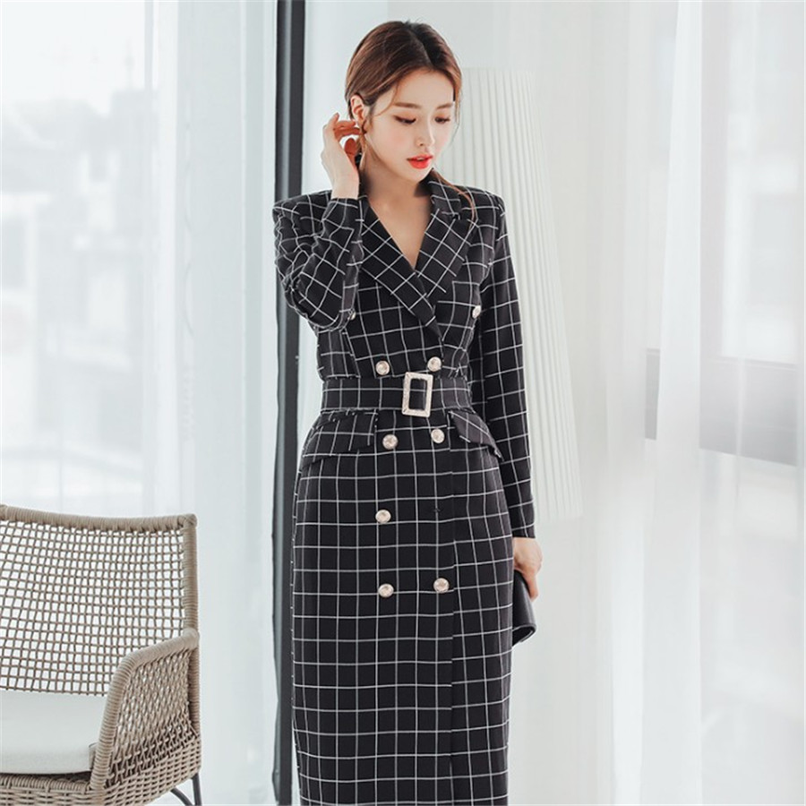 Autumn Winter New Elegant Work   Trench   Coat For Women Double Breasted Plaid Casual Long   Trench   Outerwear With Belt Ds50675