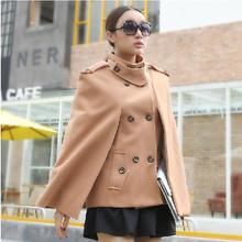 Горячая Распродажа, зимняя модная женская двубортная накидка, шерстяное пальто