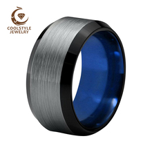 ФОТО 10mm men's black tungsten carbide wedding ring blue plated beveled edges silver brushed top size 6-15