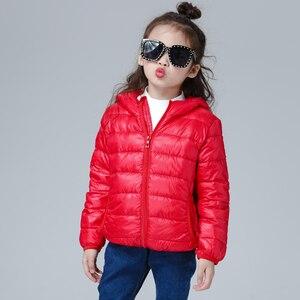 Image 5 - Пуховик для девочек, Модное детское зимнее пальто, Детские сверхлегкие зимние куртки для девочек, портативный пуховик с капюшоном для подростков