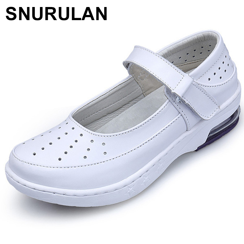 SNURULANWoman Buckle Strap Nurse shoes women Platform soft Comfortable Air cushion casual genuine leather cutouts Antiskid shoes image
