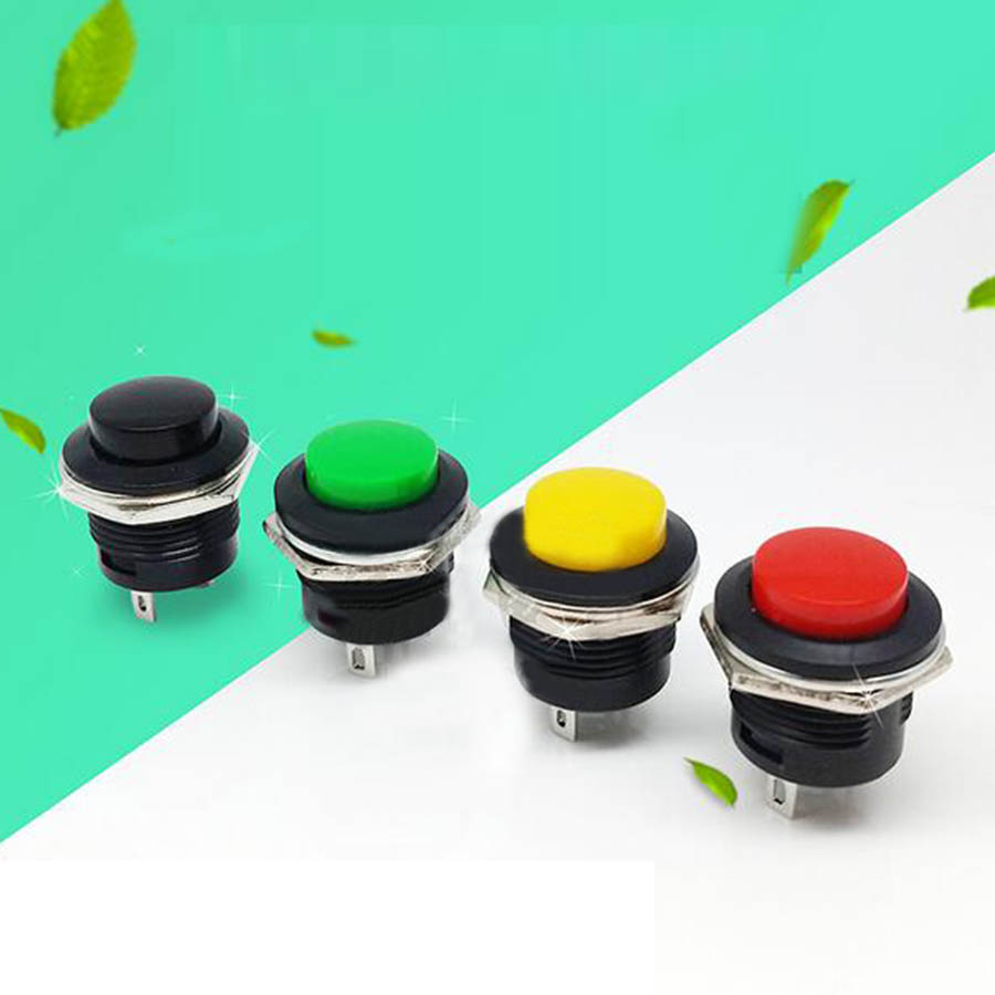10pcs R13-507 reset switch push button switch 2 pins round switch non self locking switch 3A 250V AC 6A25V AC