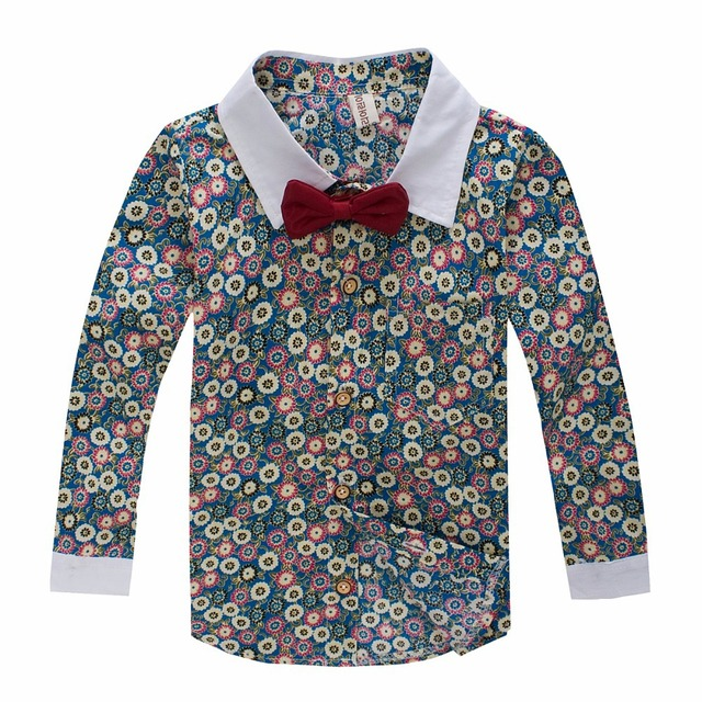 c8d7bff2c 2019 baby boys shirts long sleeve floral print boys casual shirt with bow  tie shirt for boy spring and autumn 3 5 6 8 years old