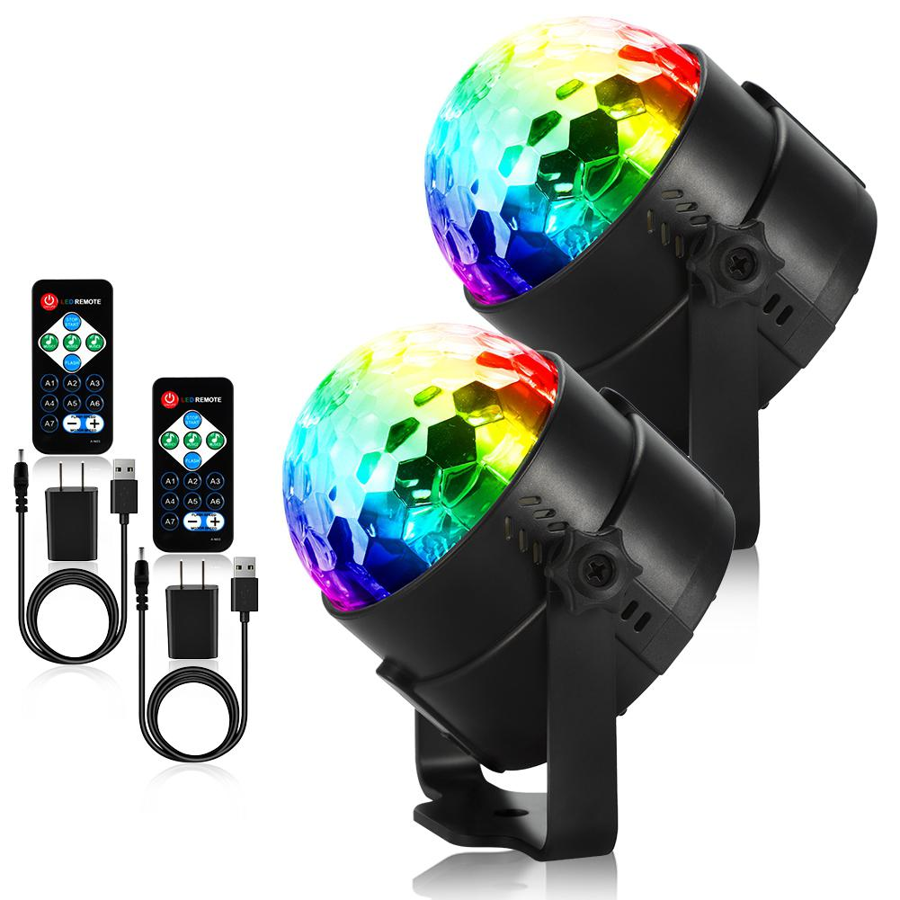 LumiParty 2pc LED Par Lights Stage Lights USB Charging Cable RGB Colors Remote Controller for Club Stage Party shipping from US