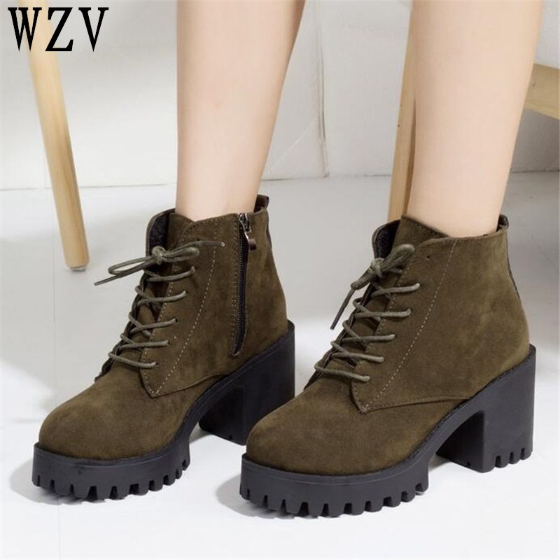 Autumn High Winter Fashion Damens Stiefel High Autumn Heels Platform lacing Up d59f0d
