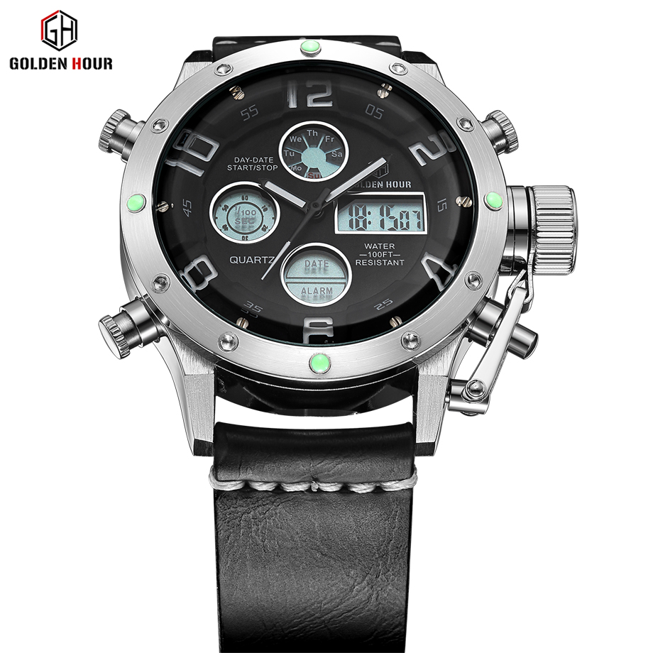 Luxury Brand Men Sport Watches Waterproof Leather Quartz Analog Watch Men Digital LED Army Military Wristwatch relogio masculino