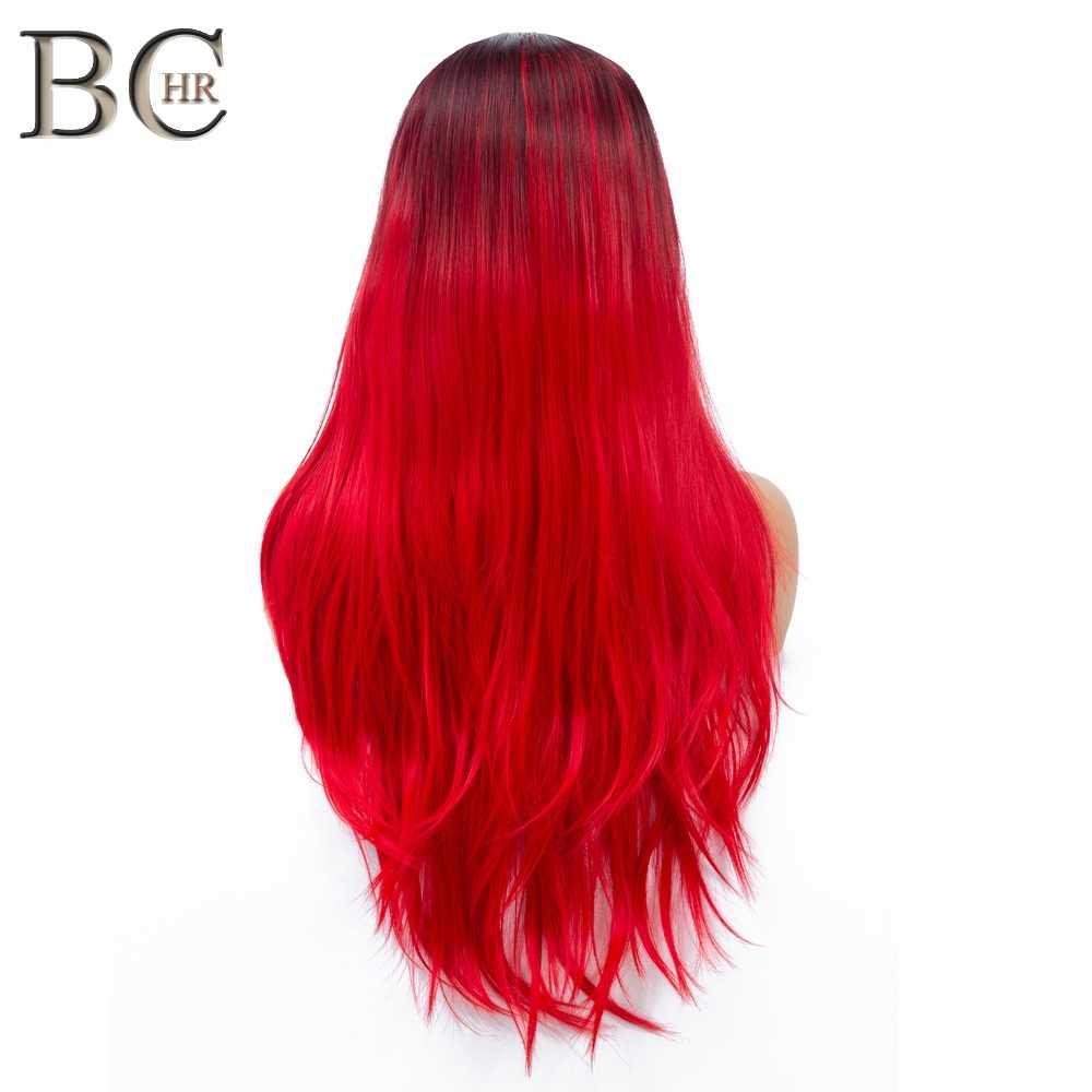 BCHR длинные прямые Омбре парики для женщин Красный синтетический парик Средняя часть темный корень можно Косплей парики