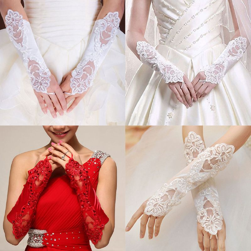 Women Bridal Long Gloves Fingerless Embroidery Lace Glitter Sequins Solid Color Elbow Length Mittens Hook Finger Wedding